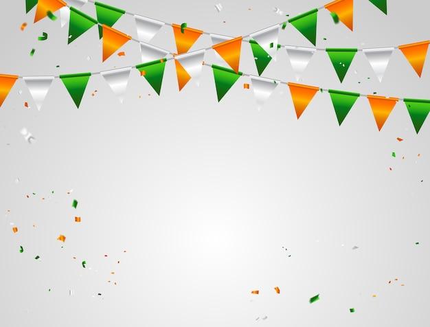 Orange White Green Flag And Confetti Vector