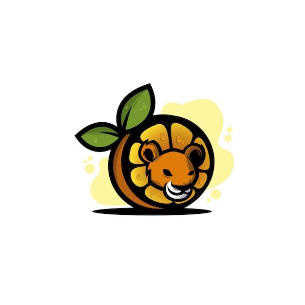 Orange with lion Premium Vector