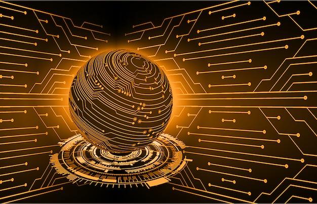 Orange world cyber circuit future technology concept background Premium Vector