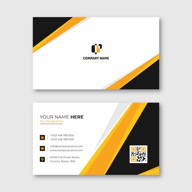 Orange and yellow business card for commercial and personal use Premium Vector