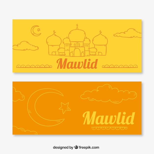 Orange and yellow mawlid banners Free Vector
