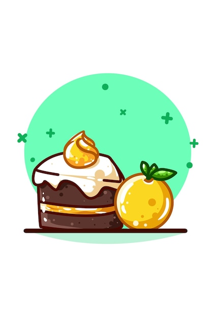 Oranges and brownie cake with cream Premium Vector