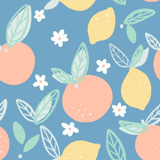 Oranges and lemons seamless pattern with leaves vector. Premium Vector
