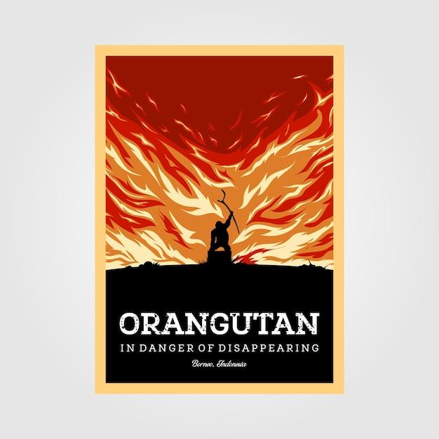 Orangutans in danger of disappearing vintage poster illustration design Premium Vector