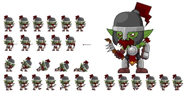 Orc archer game sprites Premium Vector