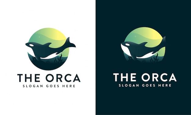 Orca under the sea logo Premium Vector