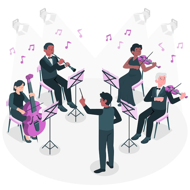 Orchestra concept illustration Free Vector