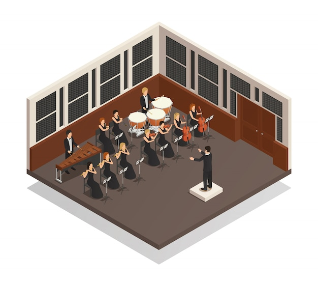 オーケストラ等尺性組成物 無料ベクター
