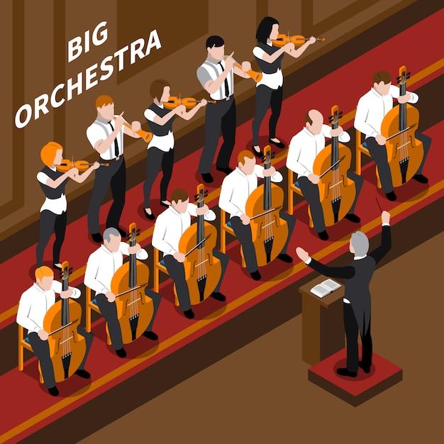 オーケストラミュージシャンとクラシック音楽コンサート等尺性組成物3 dベクトルイラストで実行する指揮者 無料ベクター