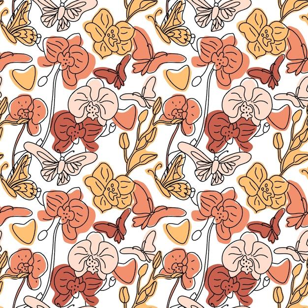 蘭と蝶の手でシームレスな背景パターン描画線抽象的な形が異なります。白のトレンドカラーイラスト。輪郭の描画。 Premiumベクター