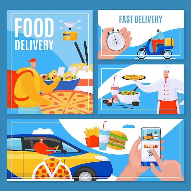 주문 음식 배달 온라인 서비스, 빠른 문 배너 그림을 설정합니다. 레스토랑 음식을 배달하는 택배. 요리사 요리 및 배달원, 전화 앱으로 주문. 프리미엄 벡터