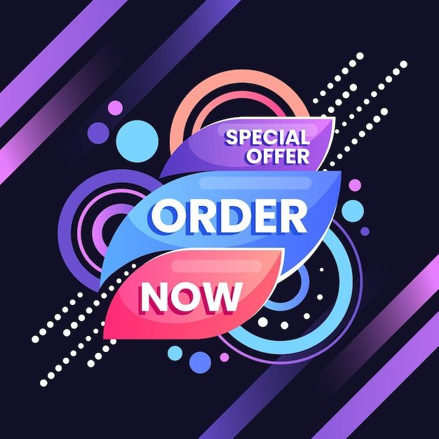 Order now banner template Free Vector