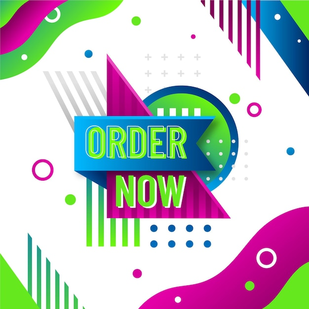 Order now banner with funky background Free Vector