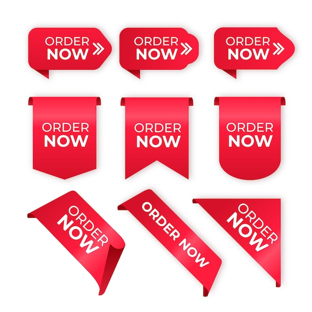 Order now label collection Free Vector