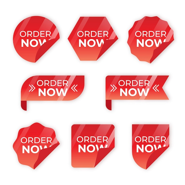 Order now label set Free Vector