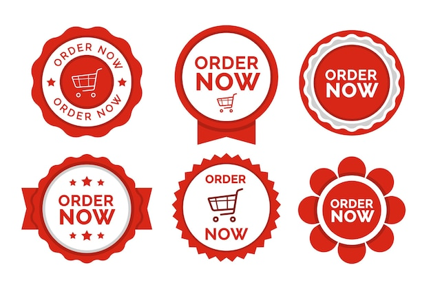 Order now sticker set Premium Vector