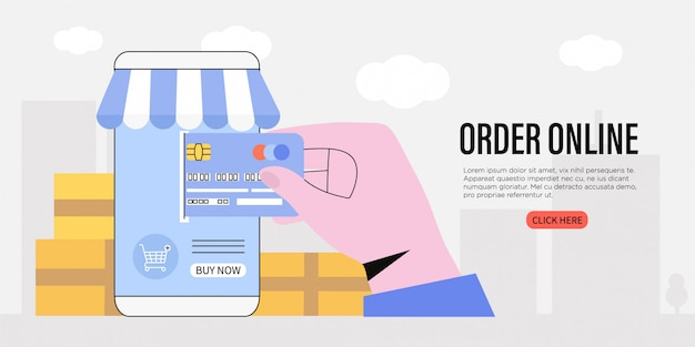 Order online and buy goods application. e-commerce concept. Premium Vector