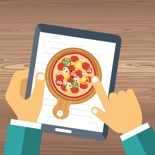 Order pizza on line Free Vector