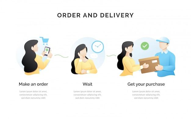 Order process concept illustration Premium Vector