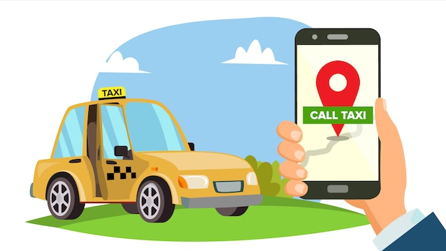 Order taxi app Premium Vector