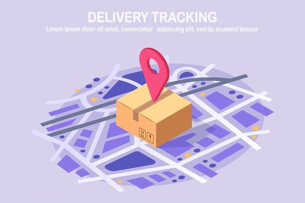 Отслеживание заказа. изометрическая посылка с булавкой, указатель на карте. доставка ящика, упаковки, грузоперевозки Premium векторы