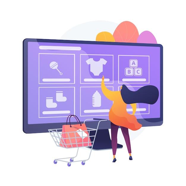 オンラインで商品を注文する。インターネットストア、オンラインショッピング、ニッチなeコマースウェブサイト。赤ちゃんの服、靴、おもちゃ、幼児用アクセサリーを購入する母親。ベクトル分離概念比喩イラスト 無料ベクター