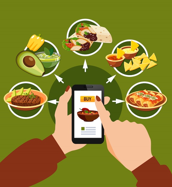 Ordering mexican food illustration Free Vector