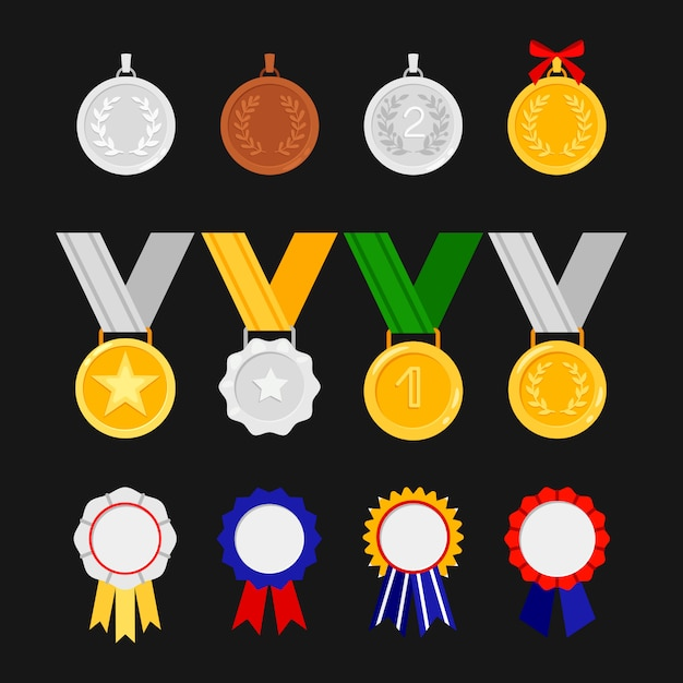 Orders and medals isolated on black background. awards icons set Premium Vector