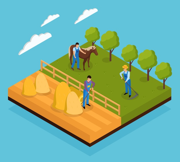 Ordinary farmers life isometric composition with view of various field works and animal grazing farming activities Free Vector