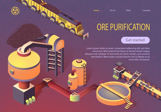 Ore purification at metallurgy foundry banner Premium Vector