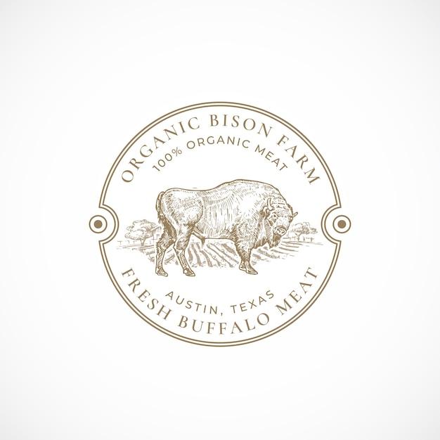 Органическая ферма бизонов в рамке ретро значок или шаблон логотипа Бесплатные векторы
