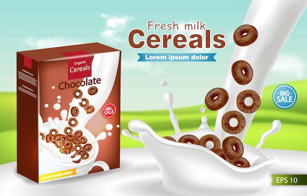 Organic cereals in milk splash realistic mockup Premium Vector