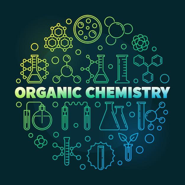 Organic chemistry colored outline round icon illustration Premium Vector