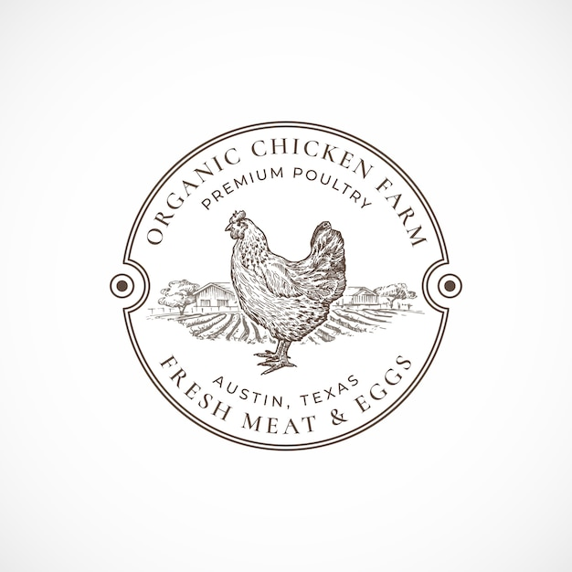 유기농 닭 농장 액자 복고풍 배지. 레트로 타이포그래피와 손으로 그린 암탉과 농장 스케치. 빈티지 스케치 상징. 무료 벡터