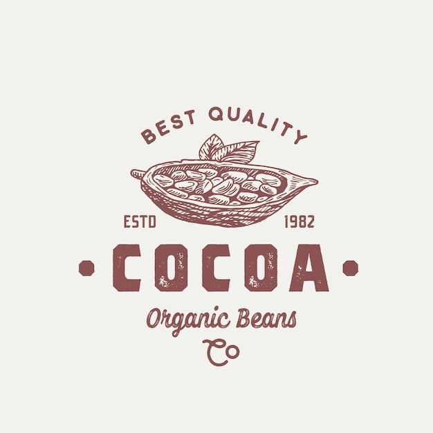 Logo di fave di cacao biologico Vettore gratuito