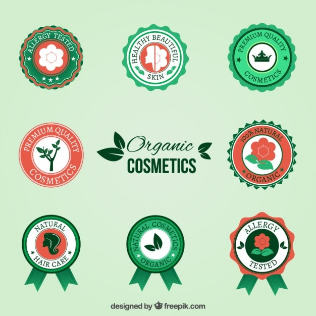 Organic cosmetic badges Free Vector