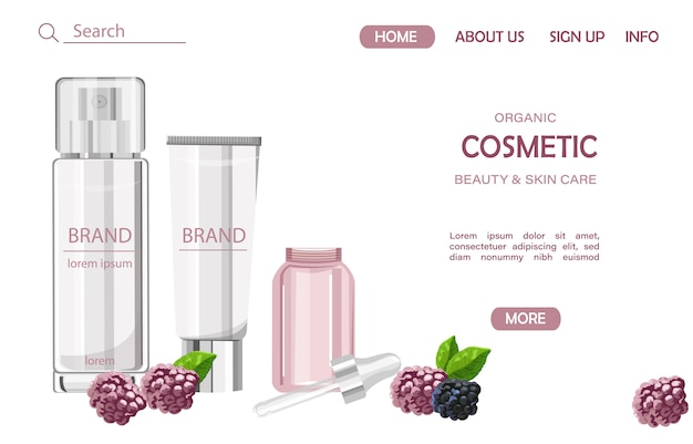 Organic cosmetic products site template Premium Vector