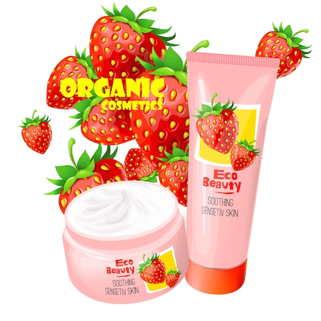 Organic cosmetics product with strawberries vector Free Vector