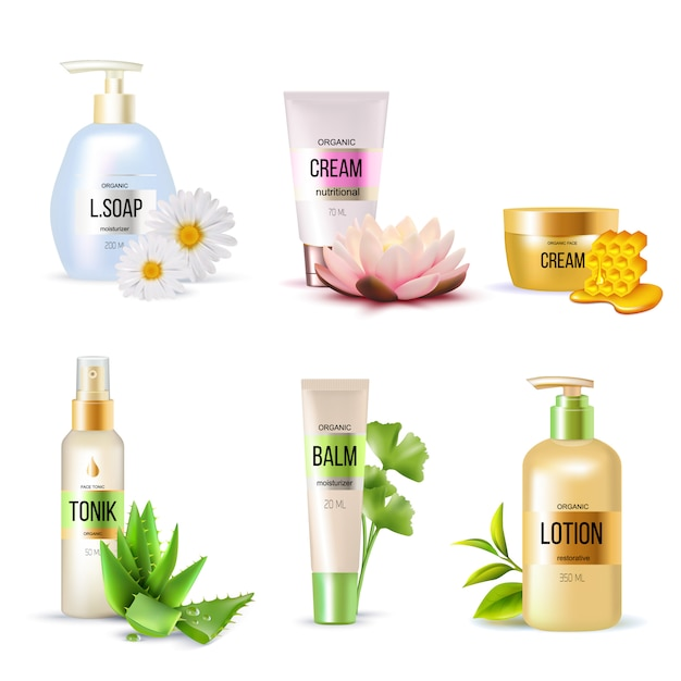 Organic cosmetics set Free Vector