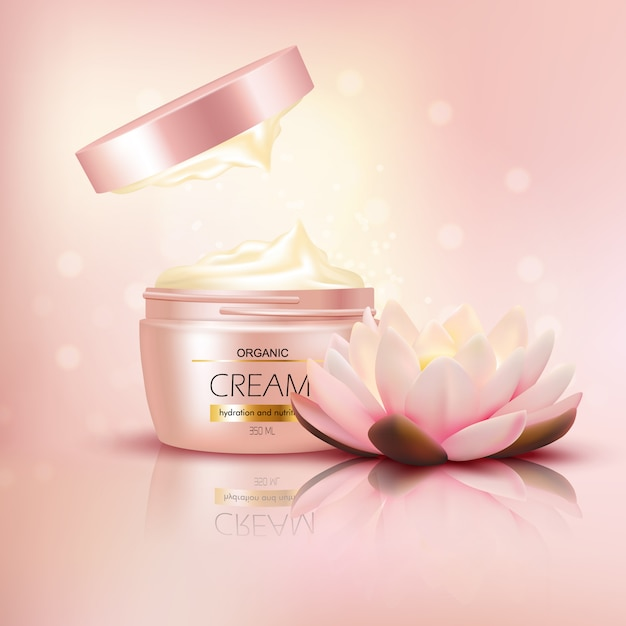 Organic cream with lotus flower Free Vector