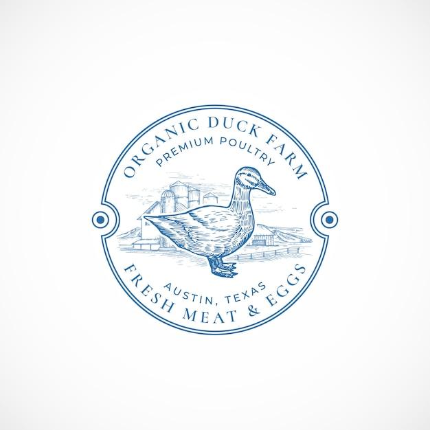 Organic duck farm framed retro badge or logo Free Vector