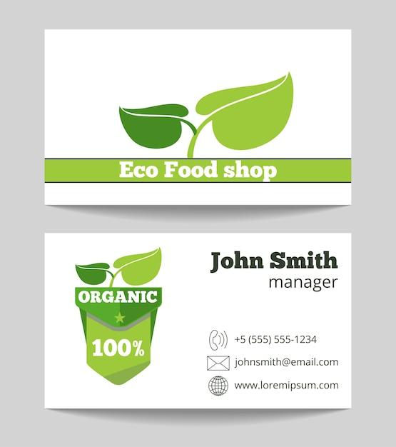 Organic eco food shop business card template Premium Vector