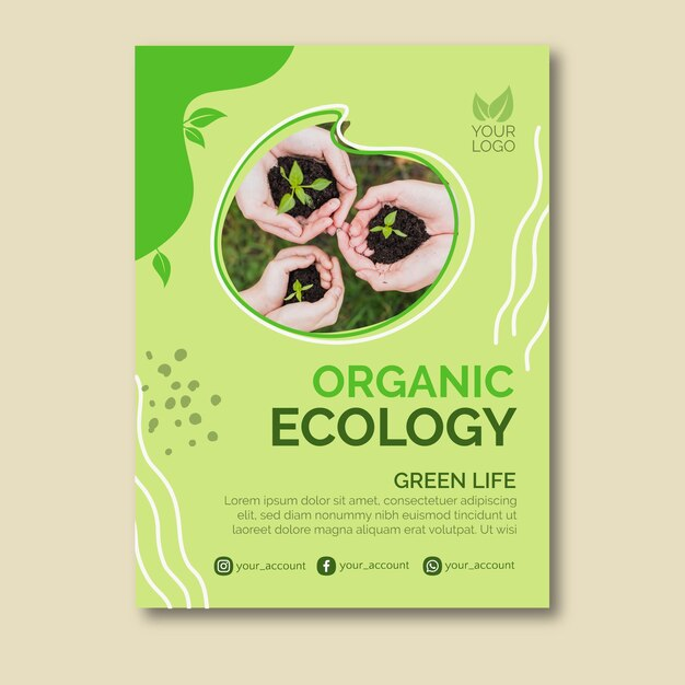 Organic ecology poster design Free Vector
