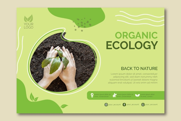 Organic ecology template design Premium Vector