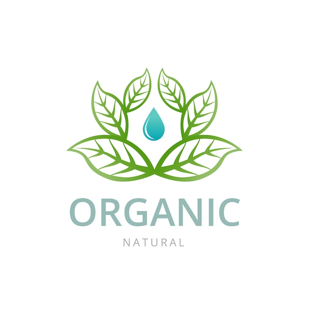 Organic emblem template with leaf and drop water. Premium Vector