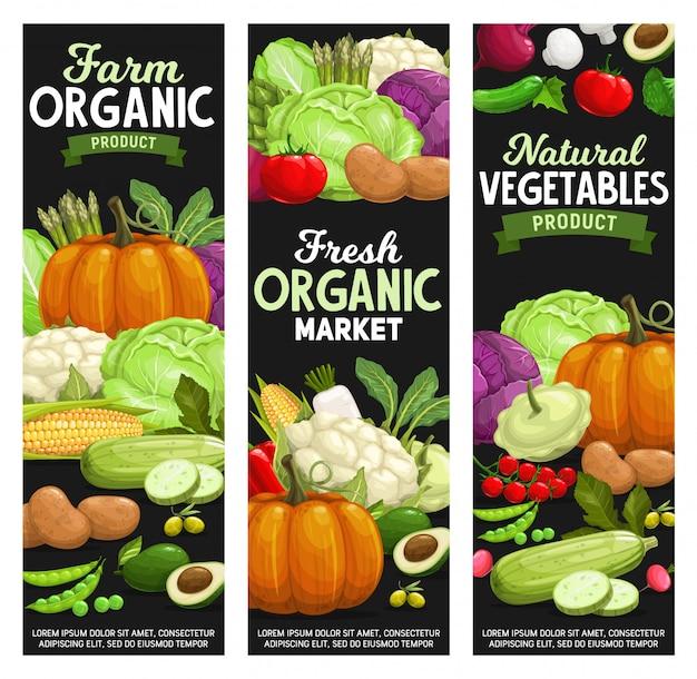 Organic farm food, vegetables and veggies market banner set Premium Vector