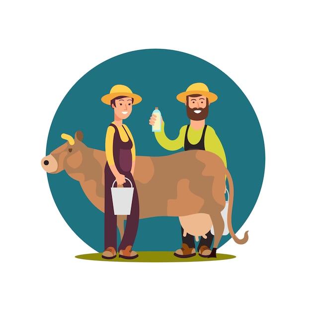 Organic farm milk products. cartoon character happy farmers with cow  design Premium Vector