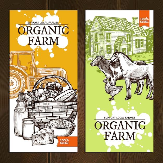 Organic farm vertical banners Free Vector