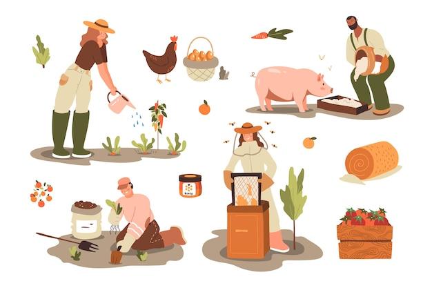 Concetto di agricoltura biologica per la vita ecologica Vettore gratuito