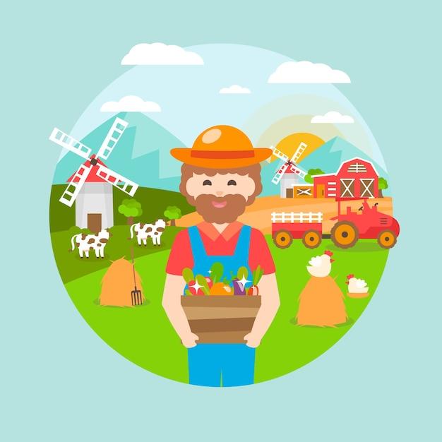 Organic farming concept illustration Free Vector